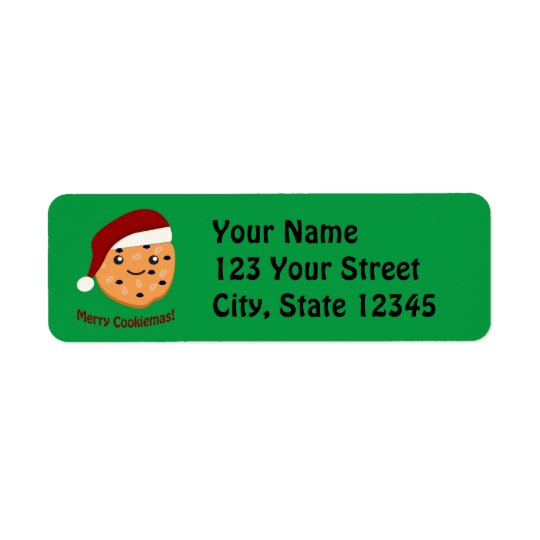 Merry Cookiemas Christmas cookie Return Address Label