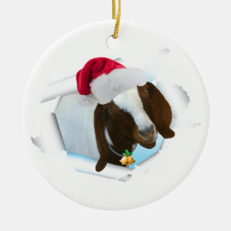 Merry Country Christmas Goat With Santa Hat & Bell Ceramic Ornament