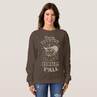Merry Country Christmas Y'all | Wood Tree Cowboy Sweatshirt