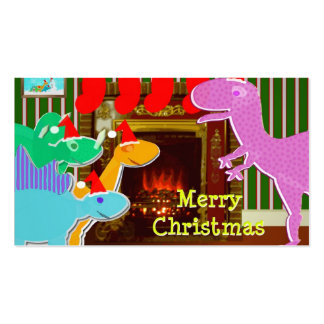 Merry Dinosaurs by the Fireplace Christmas Cards Business Card Templates
