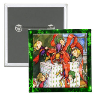 Merry Elves Wrapping Present Button