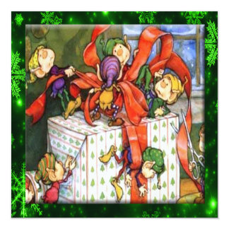 Merry Elves Wrapping Present Flat Card 13 Cm X 13 Cm Square Invitation Card