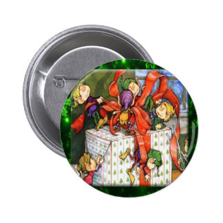 Merry Elves Wrapping Present Round Button
