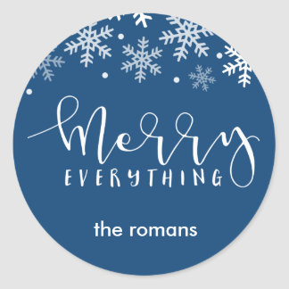 Merry Everhthing Holiday Snowflake Navy Blue Classic Round Sticker