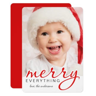 Merry Everything Christmas Bold Hand Script Photo 13 Cm X 18 Cm Invitation Card