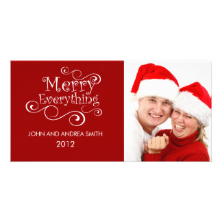 MERRY EVERYTHING CHRISTMAS PHOTO CARD RED