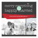 Merry Everything Happily Married Holiday Greetings Custom Invitation