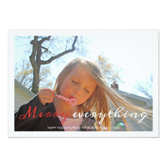 Merry Everything Holiday Photo Christmas Red White Card