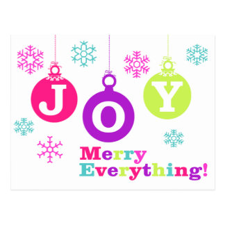 MERRY Everything JOY Ornaments Holiday Postcard