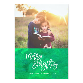 Merry Everything Modern Scrip Photo Green Card