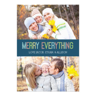 Merry Everything Photo Card Colorful Blue