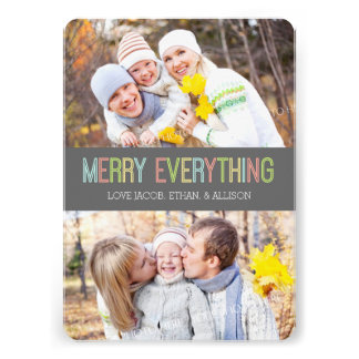 Merry Everything Photo Card Colorful Grey