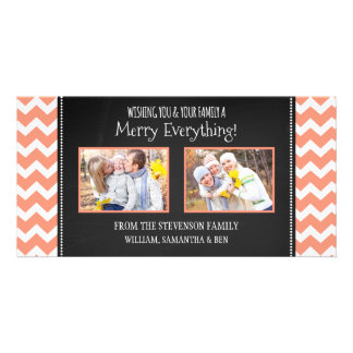 Merry Everything Photo Card Coral Chalk Chevron