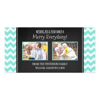 Merry Everything Photo Card Teal Chalk Chevron