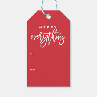 Merry Everything red christmas gift tag