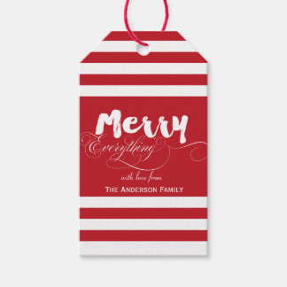 Merry Everything Red stripes gift tags