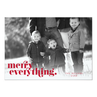 Merry Everything Red & White   Holiday Photo Card 13 Cm X 18 Cm Invitation Card