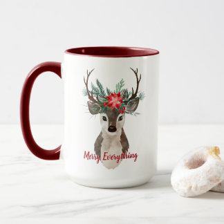 Merry Everything Watercolor Deer Antler Bouquet Mug