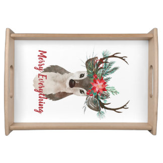 Merry Everything Watercolor Deer Antler Bouquet Serving Tray