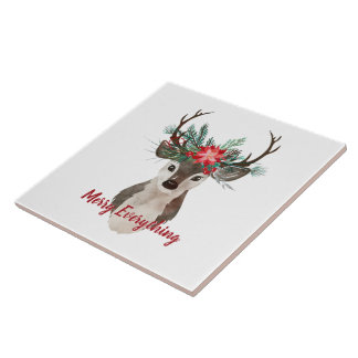 Merry Everything Watercolor Deer Antler Bouquet Tile