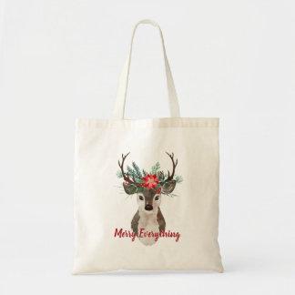 Merry Everything Watercolor Deer Antler Bouquet Tote Bag