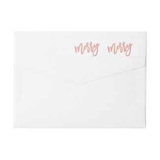 Merry Faux Rose Gold Foil Holiday Wraparound Label Wraparound Return Address Label