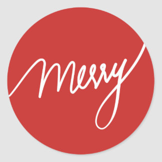 Merry | Festive Hand lettered Red Classic Round Sticker