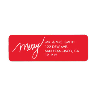 Merry | Festive Red Hand Lettered Holiday Return Address Label