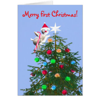 Merry First Christmas Baby Bird Greeting Card