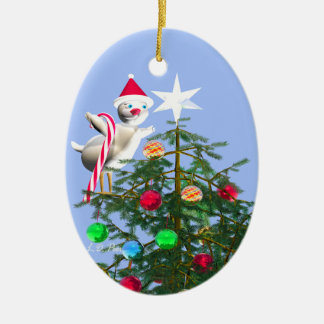Merry First Christmas Baby Bird Ceramic Oval Decoration