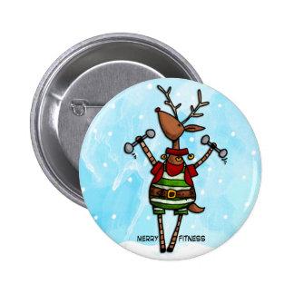 merry fitness reindeer 6 cm round badge