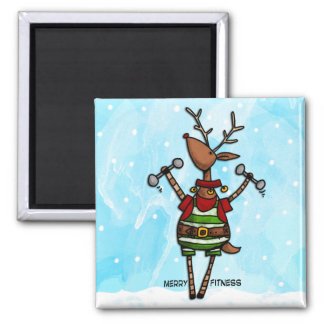 merry fitness reindeer square magnet