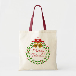 Merry Fitness Wreath Christmas Tote Budget Tote Bag