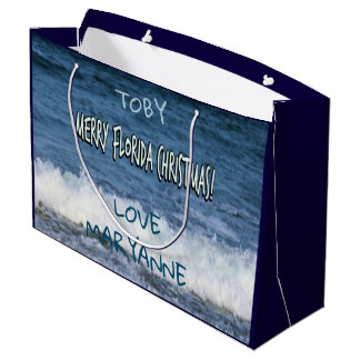 Merry Florida Christmas Over The Ocean Personalise Large Gift Bag