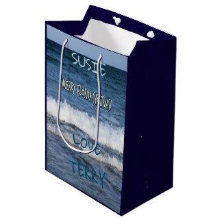 Merry Florida Christmas Over The Ocean Personalise Medium Gift Bag
