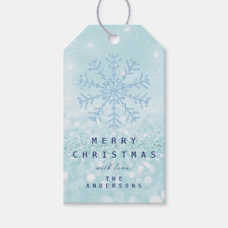 Merry Gift To Blue Snow Flakes Tiffany Ice Glitter Gift Tags