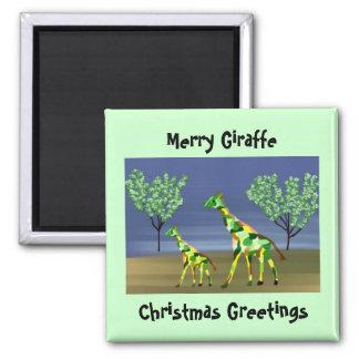 Merry Giraffe Christmas Greetings Magnet