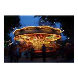 Merry-Go-Round at night in London Poster