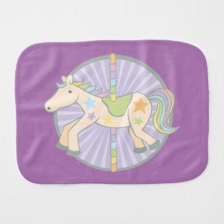 Merry-Go-Round Carousel Pony in Purple Baby Burp Cloth