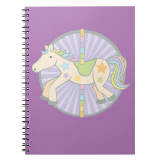 Merry-Go-Round Carousel Pony in Purple Spiral Notebooks