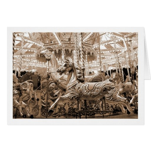 Merry-go-round / Carousel - Sepia Greeting Cards