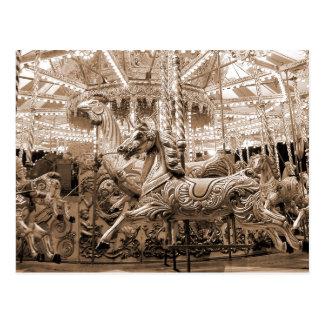 Merry-go-round Carousel - Sepia Postcards