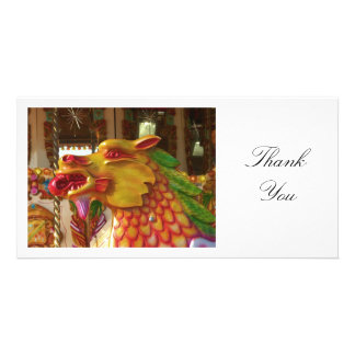 Merry-go-round Dragon - Thank You Personalized Photo Card