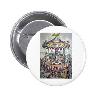 Merry-go-round with clowns 6 cm round badge