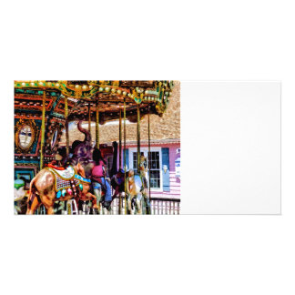 Merry Go Round With Elephants Customised Photo Card