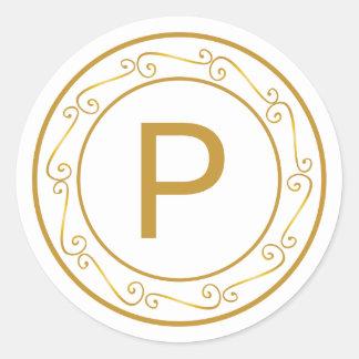 Merry Gold Tone Monogram Initial Envelope Seal Round Sticker