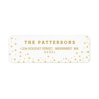 Merry Gold Tone Polkadot Return Address Labels