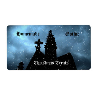 Merry Gothic Christmas blue kitchen labels