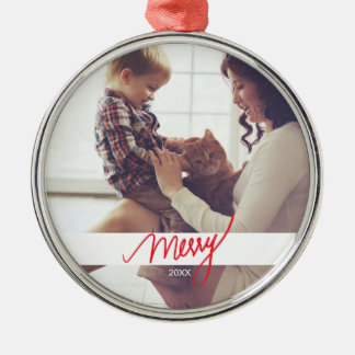 Merry | Hand Lettered Festive Christmas Photo Metal Ornament