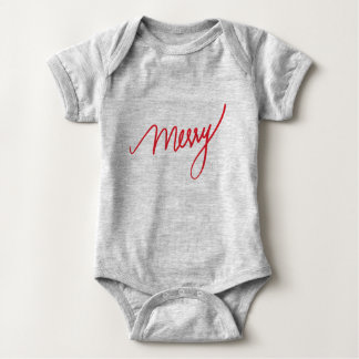 Merry | Hand Lettered | First Christmas Baby Bodysuit